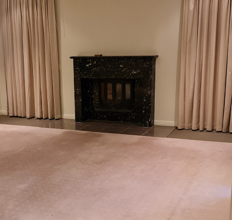 Before styling fireplace & living area